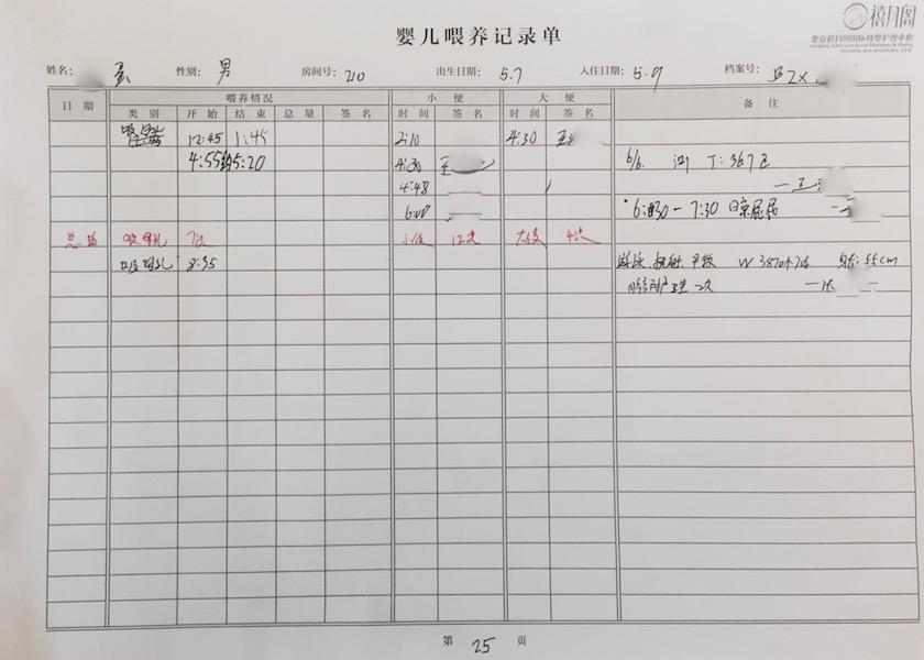 最后一天离所的喂养记录表